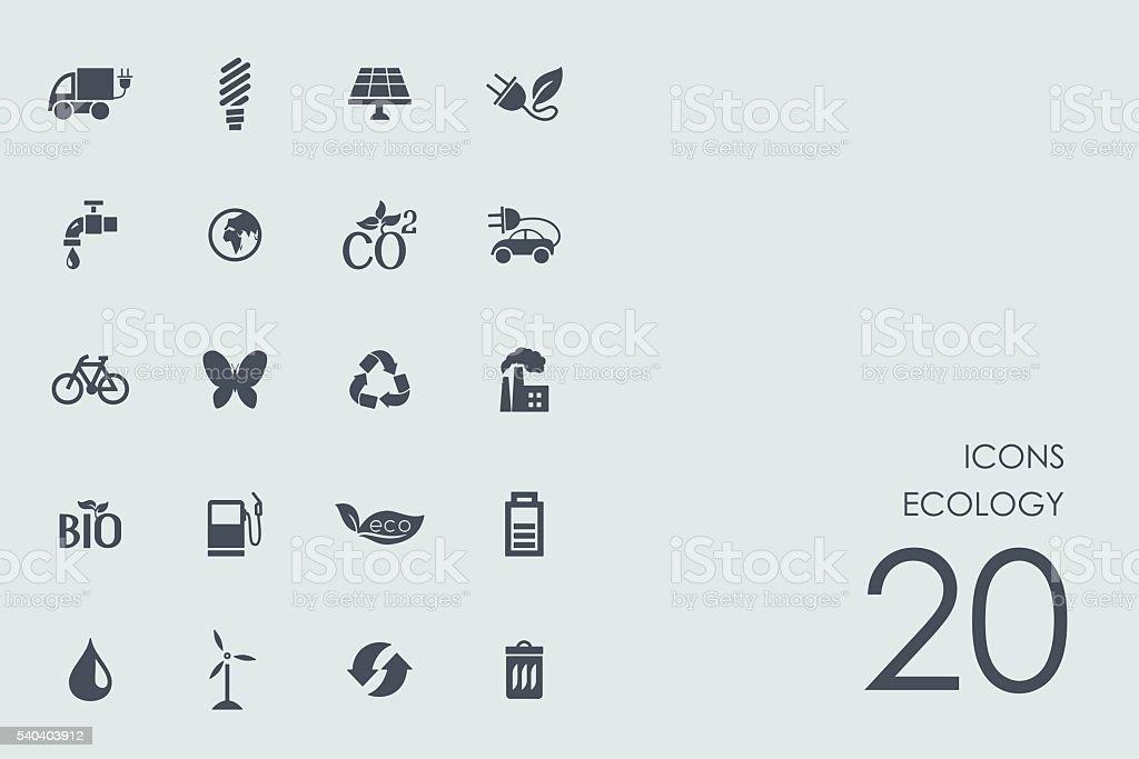 Set of ecology icons vector art illustration