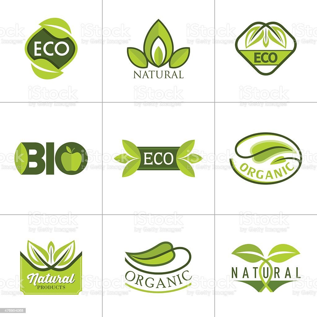 Set of ecology icons with green leaves in vector vector art illustration