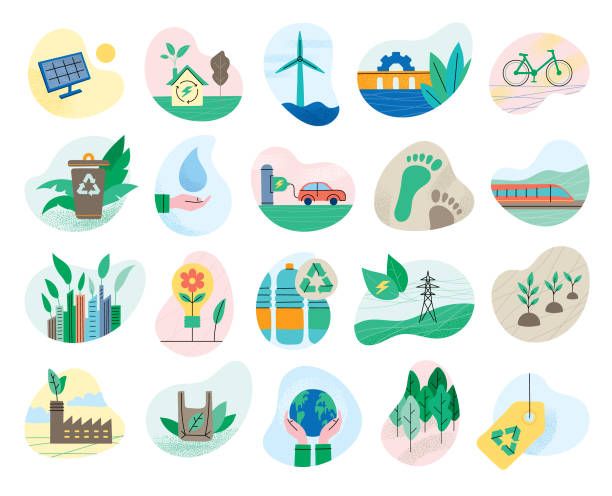 Set of ecology symbols Environmental conservation symbols for multiple purposes. Editable vectors on layers. environmental issues stock illustrations