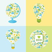 Set of ecology symbols with simply shapes globe, lamp,  balloon