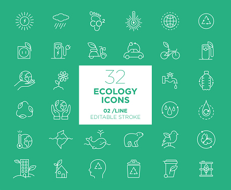 Set of Ecology white icons in line