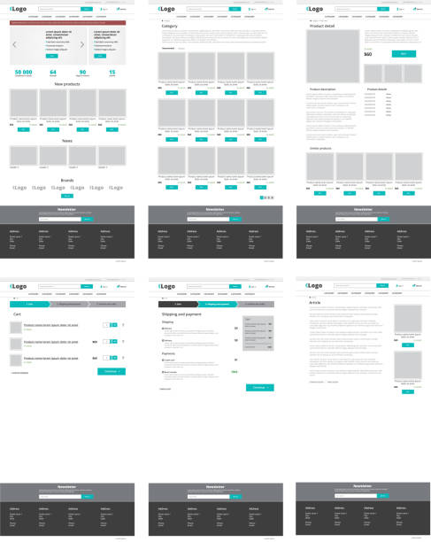 set of ecommerce website templates. homepage, category, product detail, shopping cart, article - modern vector flat design layouts - strona startowa stock illustrations