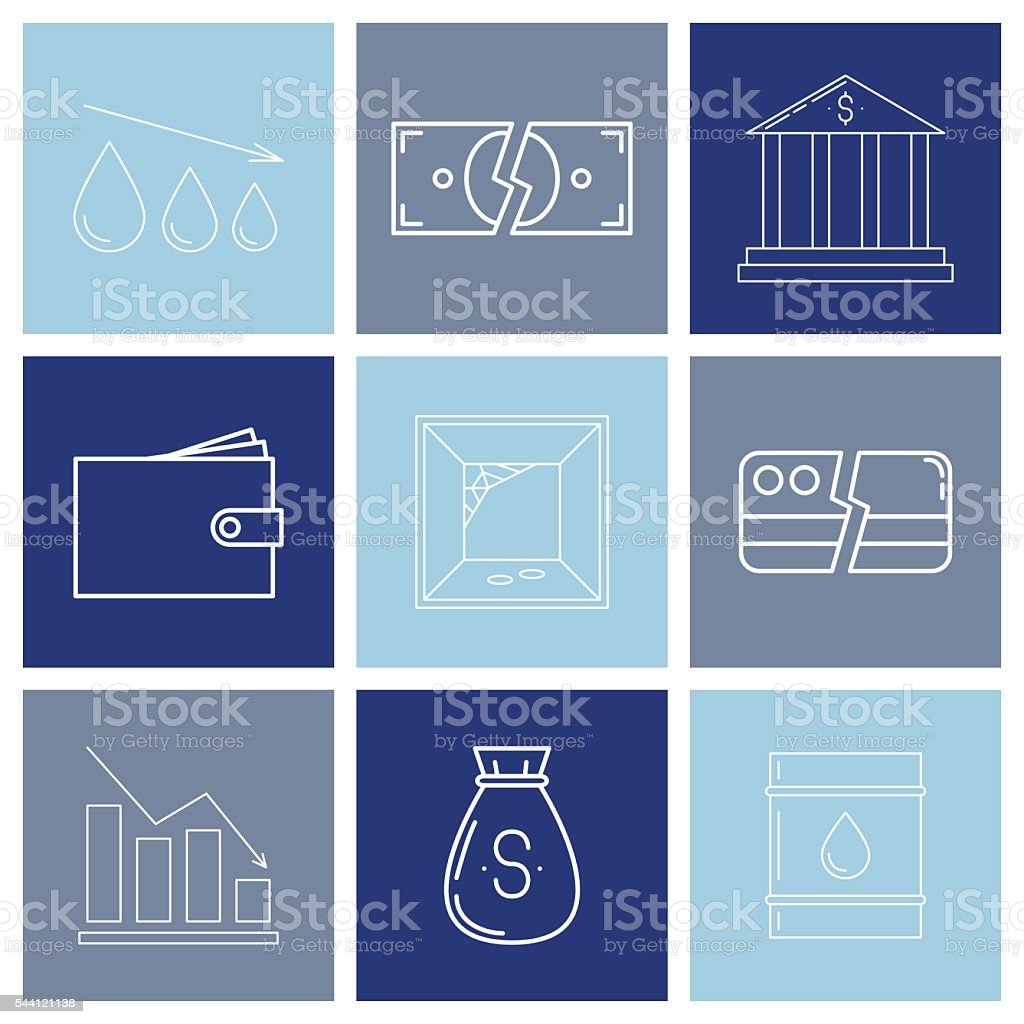 Set Of Economy Crysis Icons Stock Vector Art More Images Of