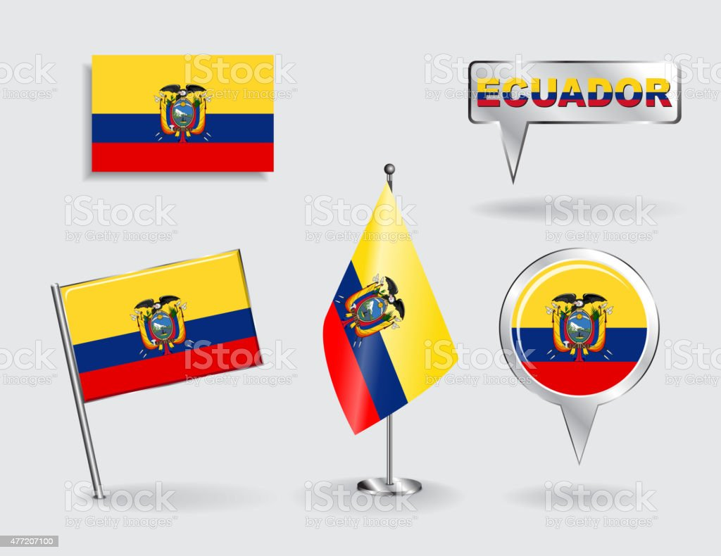 Satz von Ecuadorian pin, icon und map pointer flags. Vektor – Vektorgrafik