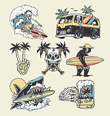 istock A set of edgy surf and beach illustrations. For t-shirts, stickers and other similar products. 1248656792