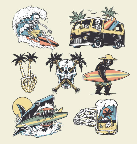 A set of edgy surf and beach illustrations. For t-shirts, stickers and other similar products. A set of edgy surf and beach illustrations. For t-shirts, stickers and other similar products. surf stock illustrations