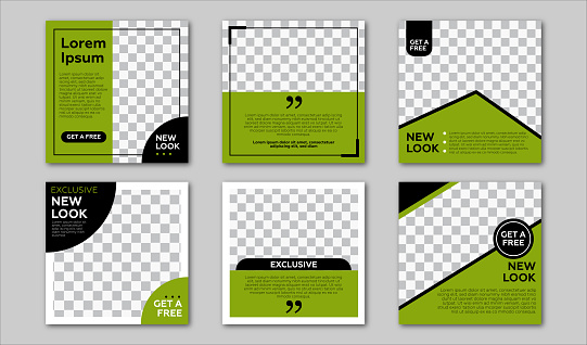 Set of Editable square banner template. Black and Green background color with stripe line shape. Suitable for social media post and web internet ads. Vector illustration with photo college