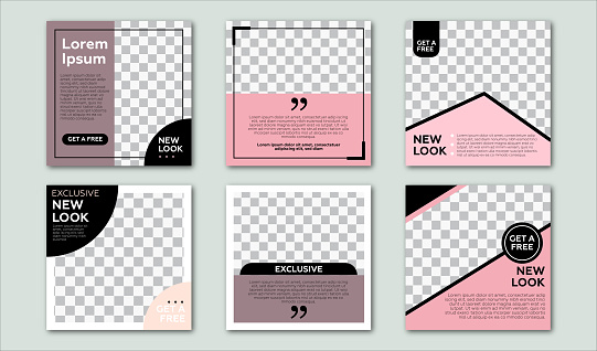 Set of Editable square banner template. Pastel and pink background color with stripe line shape. Suitable for social media post and web internet ads. Vector illustration with photo college.