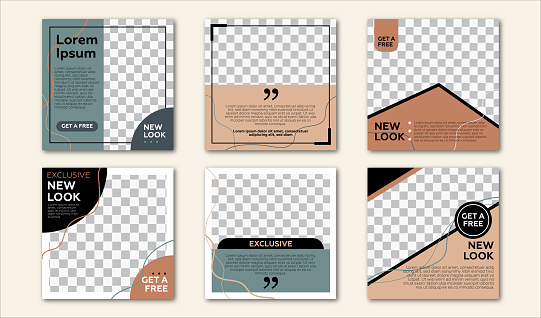 Set of Editable square banner template. Pastel background color with stripe line shape. Suitable for social media post and web internet ads. Vector illustration with photo college.