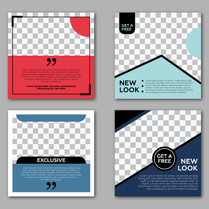 Set of Editable square banner template. Red and blue background color with stripe line shape. Suitable for social media post and web internet ads. Vector illustration with photo college.