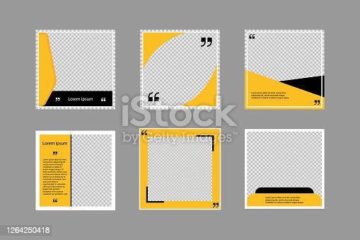 Set of editable square banners. Social media poster template in black and yellow. Square frame with transparent background. Isolated booklet mockup. New look flyer. Sale collection. EPS 10