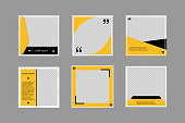 Set of editable square banners. Social media poster template in black and yellow. Square frame with transparent background. Isolated booklet mockup. New look flyer. Sale collection. EPS 10.