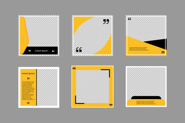 Set of editable square banners. Social media poster template in black and yellow. Square frame with transparent background. Isolated booklet mockup. New look flyer. Sale collection. EPS 10. Set of editable square banners. Social media poster template in black and yellow. Square frame with transparent background. Isolated booklet mockup. New look flyer. Sale collection. EPS 10 fashion stock illustrations
