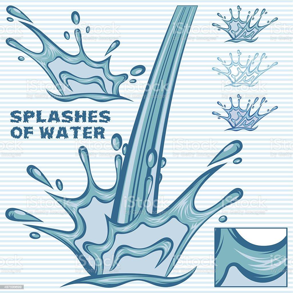 set of editable vector splashing water vector art illustration