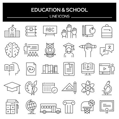 Set of Education and School Related Line Icons. Outline Symbol Collection, Editable Stroke