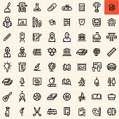 A set of education icons with a highlighted graduation icon