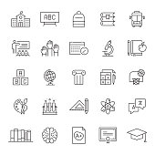 Set of Education Related Line Icons. Editable Stroke. Simple Outline Icons.