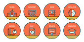 Set of Education Related Line Icons. Simple Outline Icons.