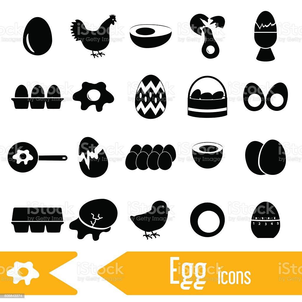 set of egg theme black icons eps10 vector art illustration