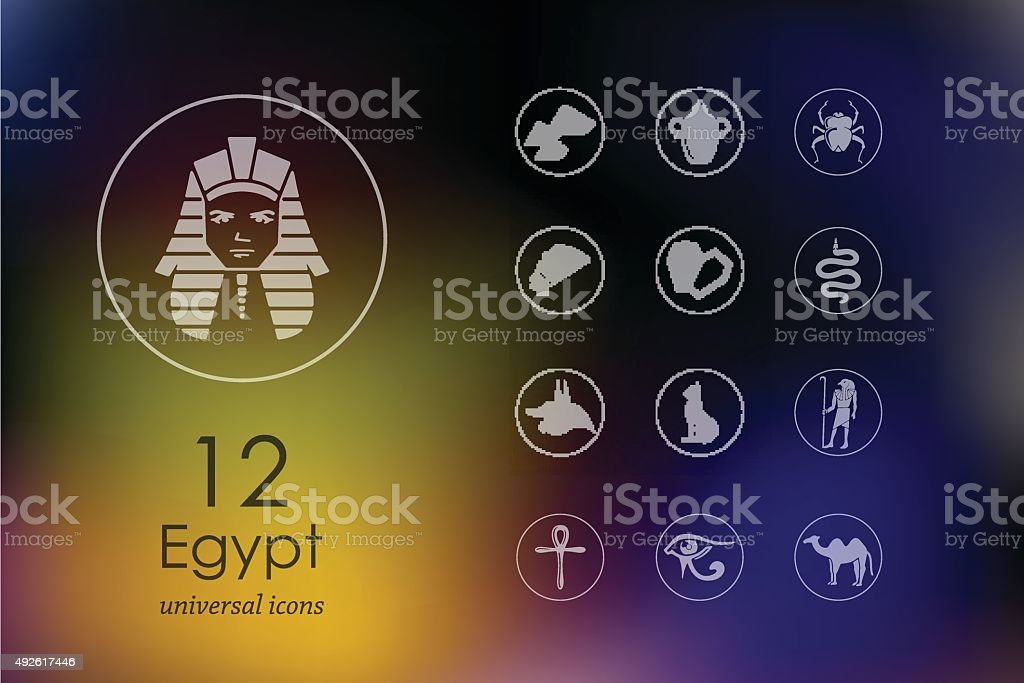 Set of Egypt icons vector art illustration