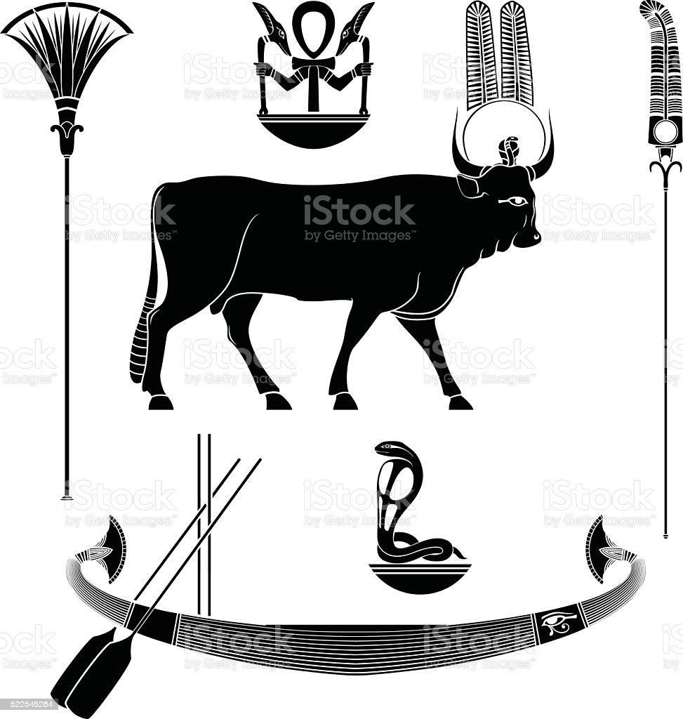 Set of egyptian ancient symbol vector art illustration