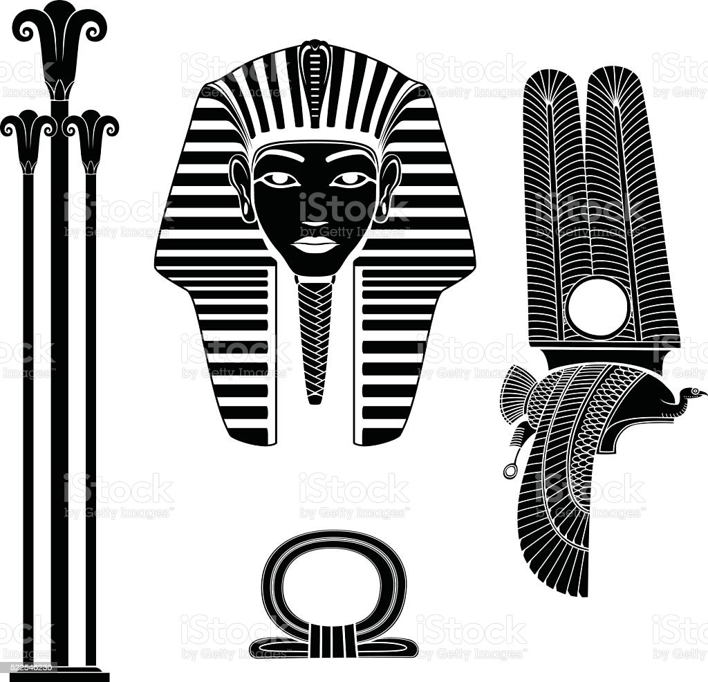 Set of egyptian ancient symbol vector art illustration
