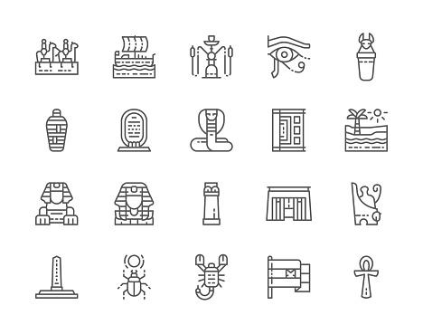 Set of Egyptian Culture Line Icons. Caravan, Hookah, Mummy, Scorpion and more.