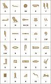 Set of egyptian hieroglyphics alphabet with latin letters on white