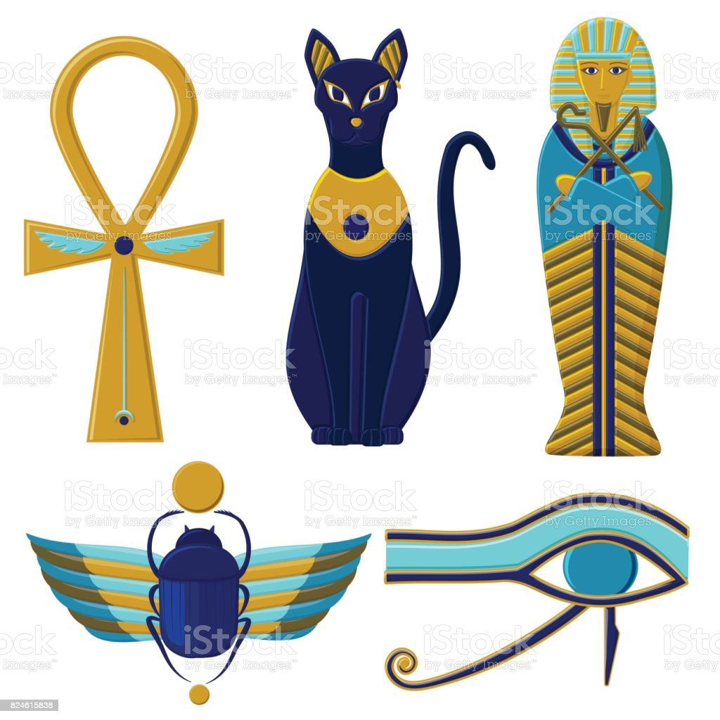 Set Of Egyptian Signs And Symbols Cultures Of Ancient Egypt Stock