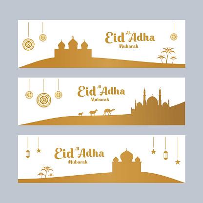 Set of Eid al Adha background design, modern islamic banner collection, arabic, ied mubarak celebration, poster, flyer, advertising illustration design vector. Sacrifice a camel, sheep, cow and goat