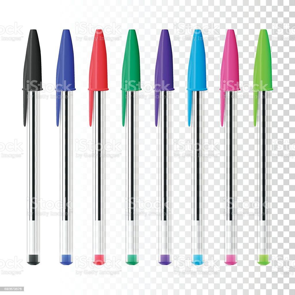 Set of eight ballpoint pens on blank background vector art illustration