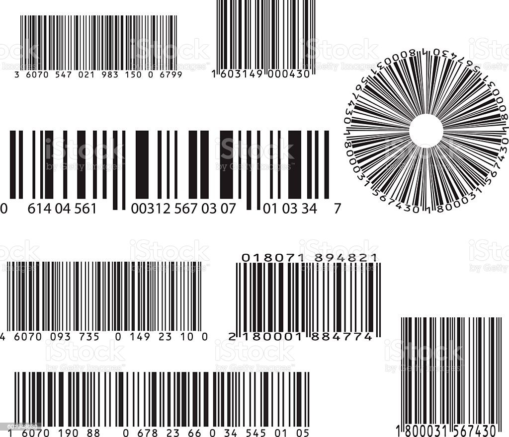set of eight barcode vector art illustration