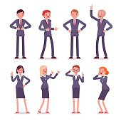 Set of eight business male and female characters