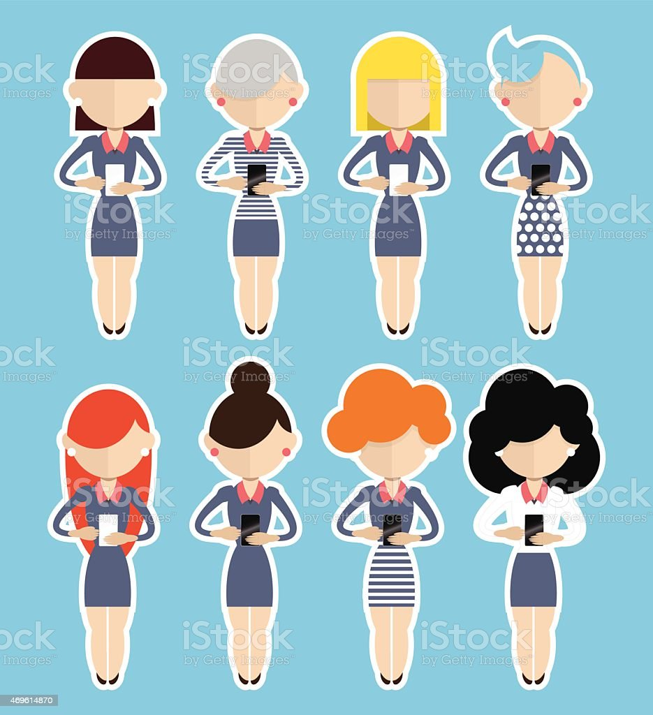 Set of eight business women using cell phones vector art illustration
