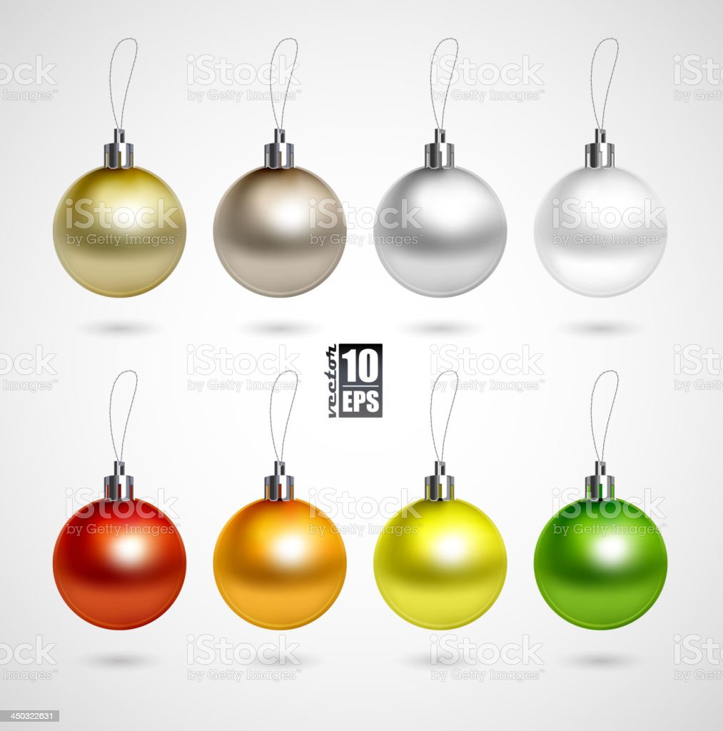 A set of eight Christmas balls decoration in various colors vector art illustration