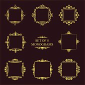 Set of eight decorative vintage monograms. Elegant square frames on a dark background for logos