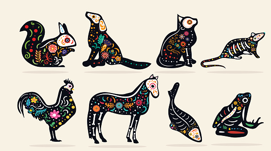 Set of eight pet Dia de Muertos designs