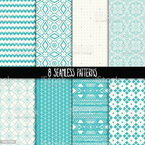 Set of eight turquoise and white patterns vector id836258962?b=1&k=6&m=836258962&s=612x612&h=dmp440z3uif2vs2w1zwod8dyp3i bbysfokypfe 2gg=