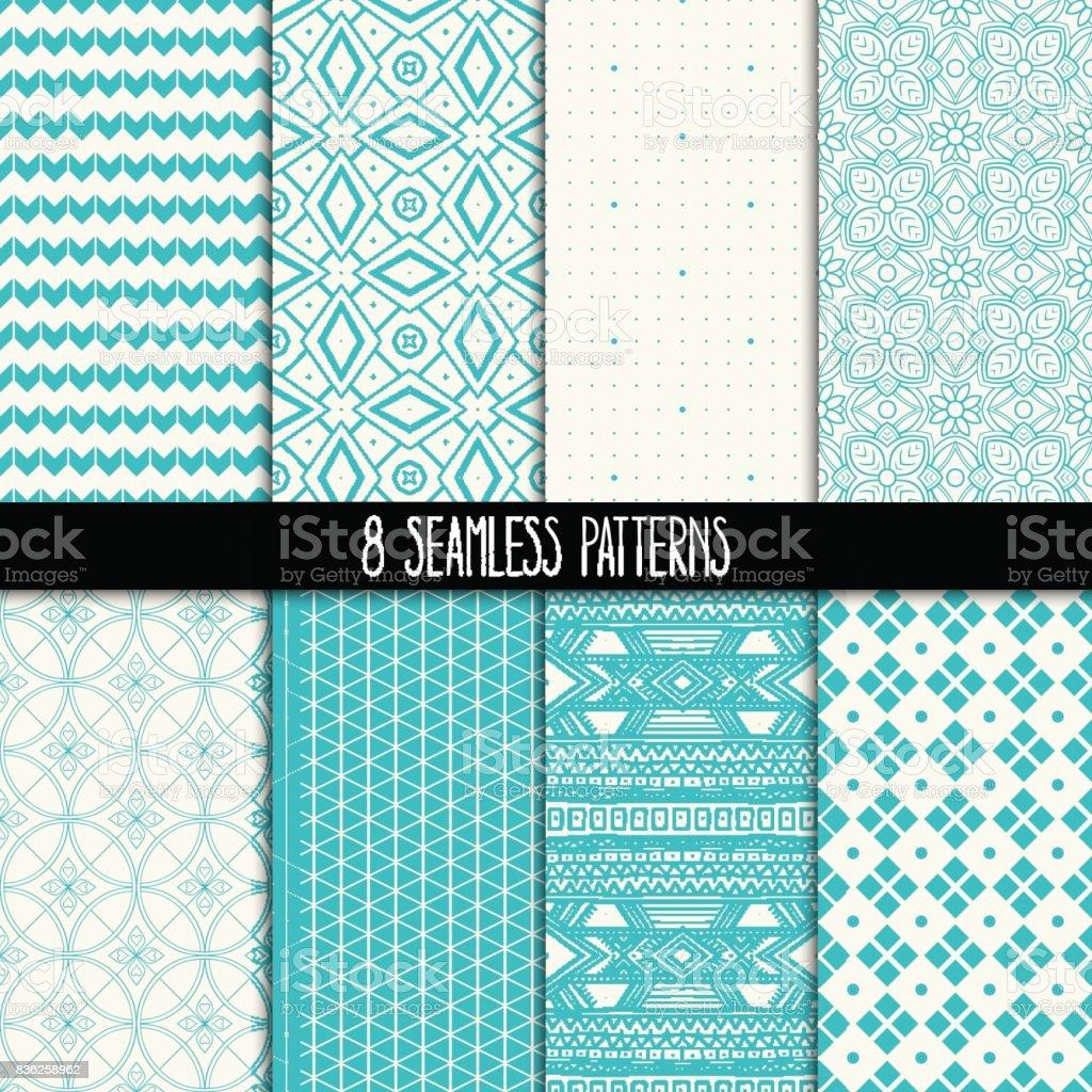 conjunto de oito padrões turquesas e brancos - ilustração de arte em vetor