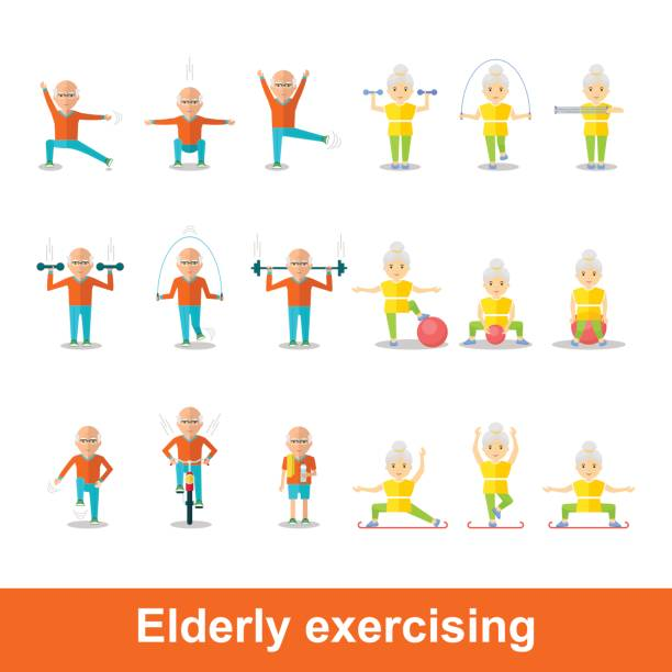 set of elderly exercising - old man on bike stock illustrations, clip art, cartoons, & icons