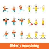 set of elderly exercising