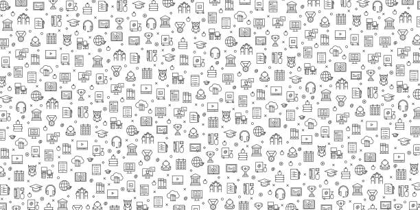 Set of E-Learning Icons Vector Pattern Design Set of E-Learning Icons Vector Pattern Design backgrounds icons stock illustrations
