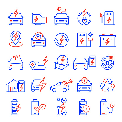 Set of Electric Car Related Line Icons. Editable Stroke. Simple Outline Icons.
