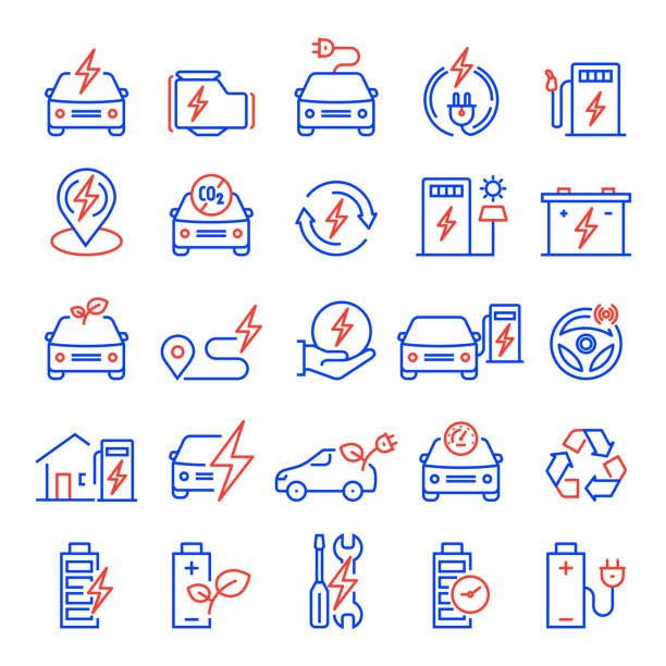Set of Electric Car Related Line Icons. Editable Stroke. Simple Outline Icons. Set of Electric Car Related Line Icons. Editable Stroke. Simple Outline Icons. hybrid vehicle stock illustrations