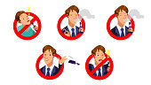 A Set of Electric Cigarette Icons smoking and non smoking sign