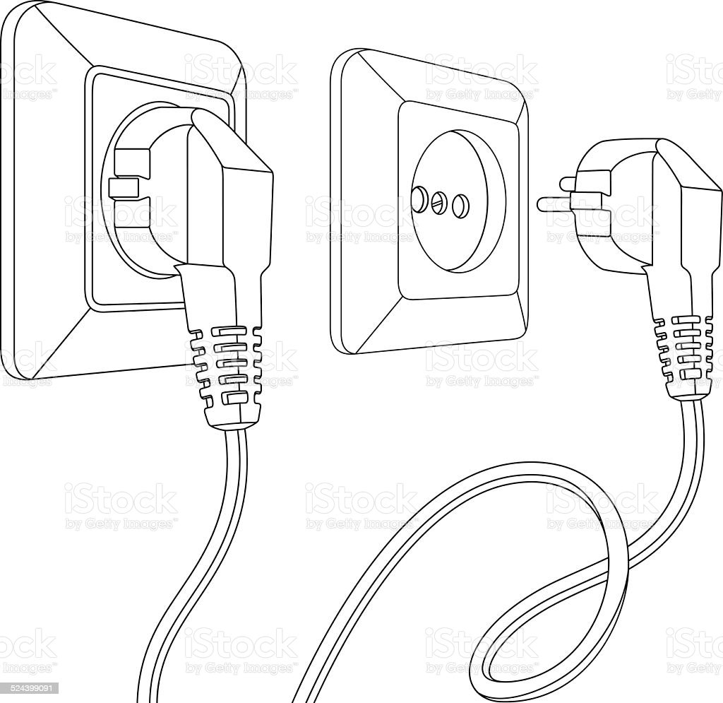 set of electric sockets and plugs vector art illustration