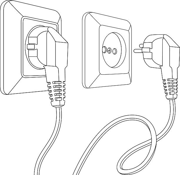 set of electric sockets and plugs - electrical wiring home stock illustrations, clip art, cartoons, & icons