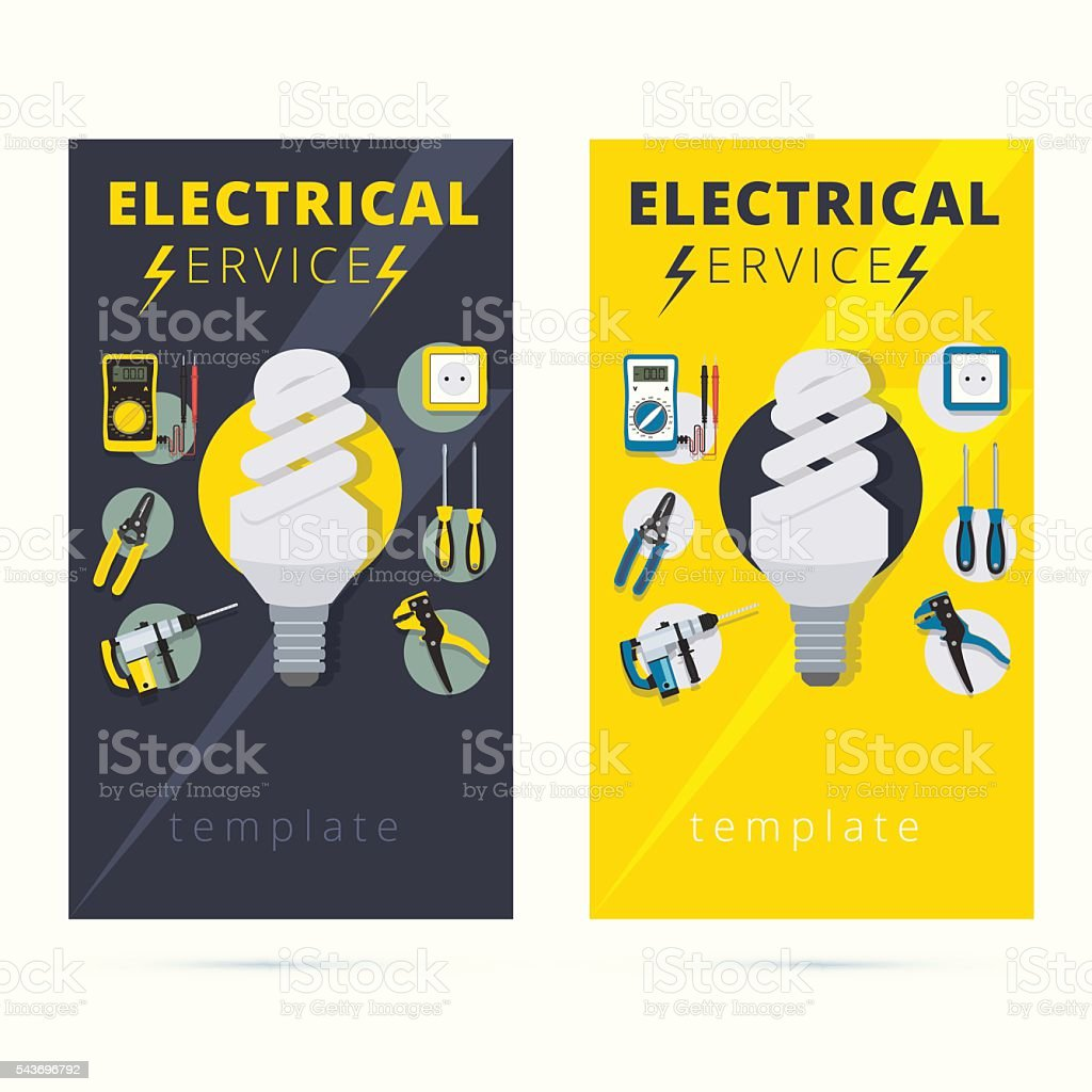 Set Of Electrical Services Vector Business Card Concept Design Royalty Free Stock Art