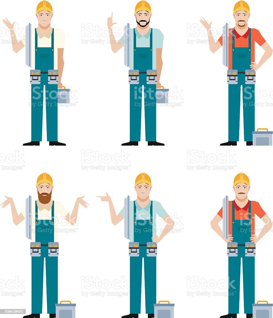 Set of Electricians vector art illustration