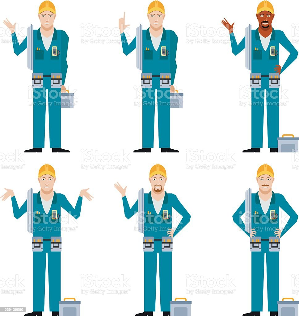 Set of Electricians2 vector art illustration